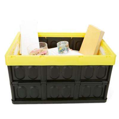 Heavy Duty Collapsible And Stackable Storage Bin Container In Solid Wall Utility Basket Tote