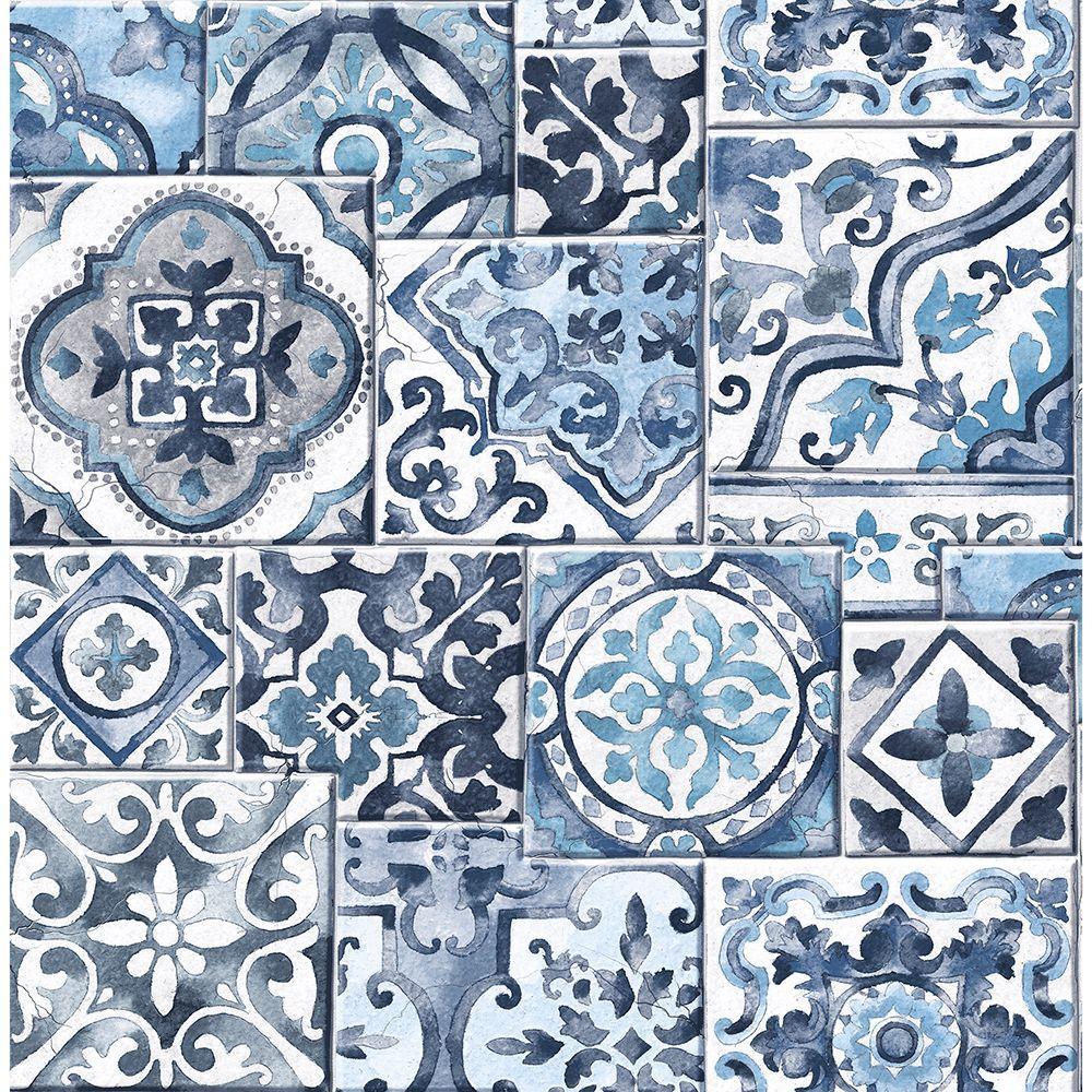 Blue Marrakesh Tiles Mosaic Wallpaper