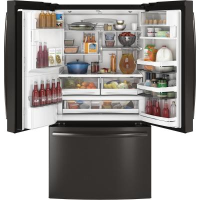 Profile 27.8 cu. ft. French Door Refrigerator with Hands-Free Autofill in Black Stainless Steel, Fingerprint Resistant
