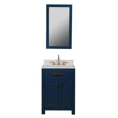 Madison 24 in. Vanity in Monarch Blue with Carrara White Marble Vanity Top with White Basins and Mirror
