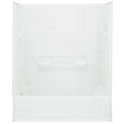 All Pro 60 in. x 30 in. x 72-3/4 in. Bath/Shower Kit with Left Drain in White
