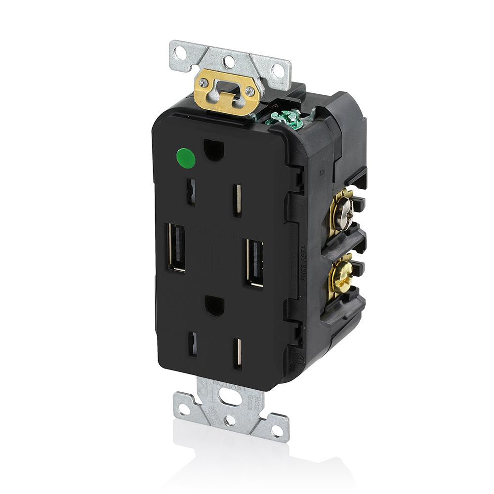 Decora 15 Amp Hospital Grade Tamper Resistant Duplex Outlet and 3.6 Amp USB Outlet, Black