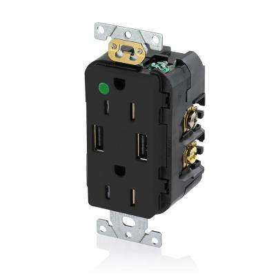 Decora 15 Amp Hospital Grade Tamper Resistant Duplex Outlet and 3.6 Amp USB Outlet, Black