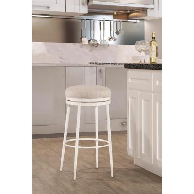 Aubrie Off-White Swivel Backless Counter Stool