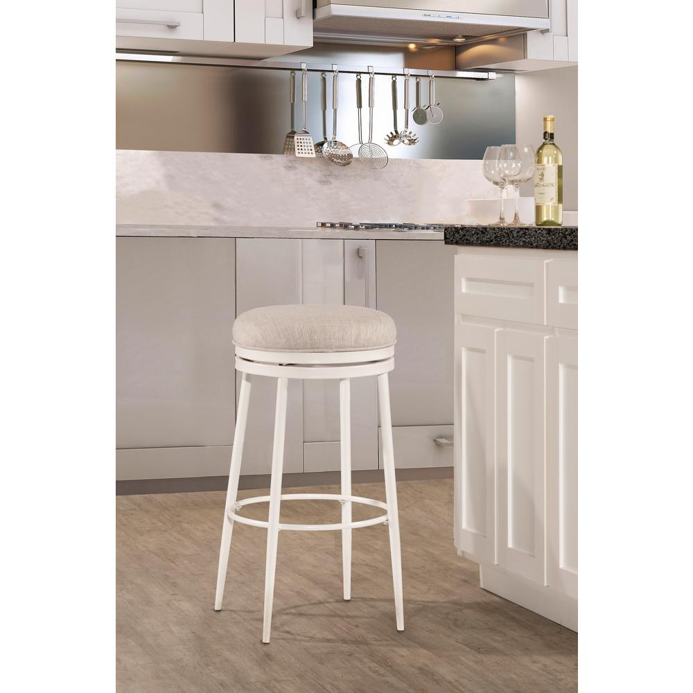Hilale Furniture Aubrie Off White Swivel Backless Counter Stool
