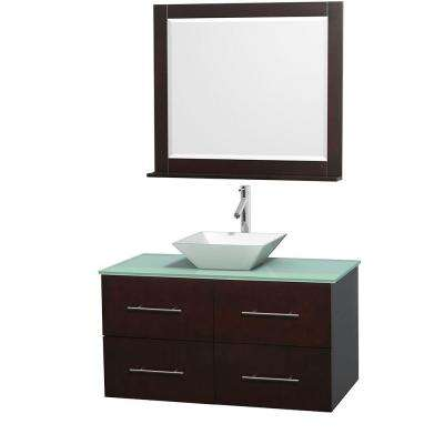 Centra 42 in. Vanity in Espresso with Glass Vanity Top in Green, Porcelain Sink and 36 in. Mirror
