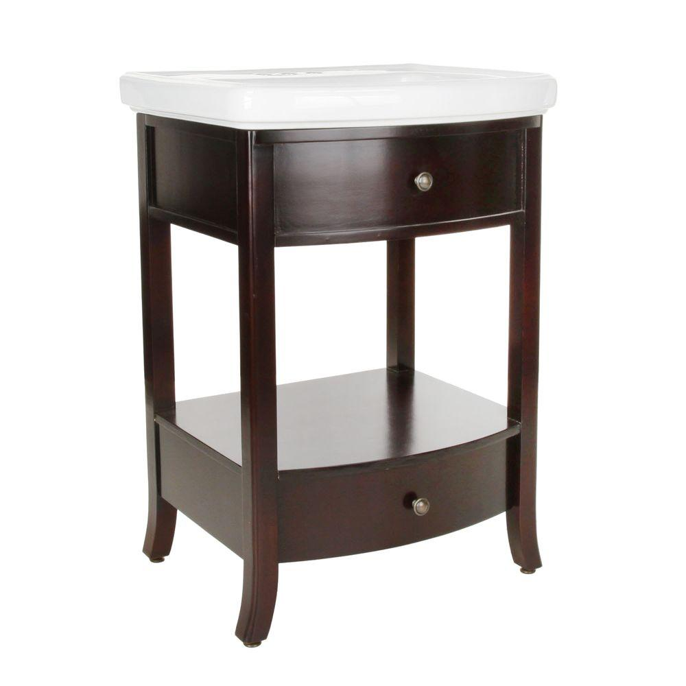 Pegasus Parisian 24-1/2 in. Birch Vanity in Espresso with Vitreous China Vanity Top in White with White Basin
