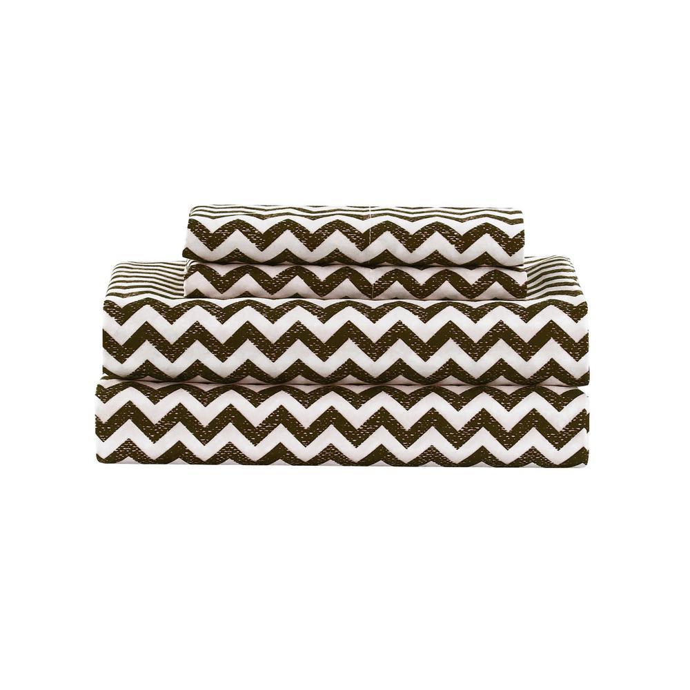 Casey Chevron Micro Chocolate Queen Sheet Set