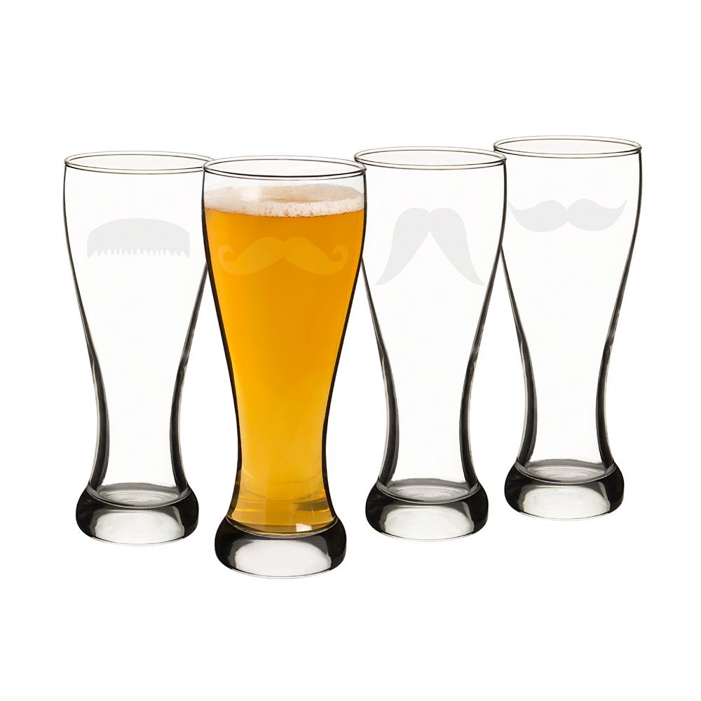 Gentleman's Mustache 20 oz. Pilsner Glasses