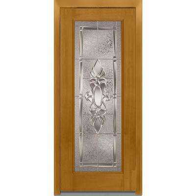 32 in. x 80 in. Heirloom Master Right-Hand Full Lite Decorative Classic Stained Fiberglass Mahogany Prehung Front Door