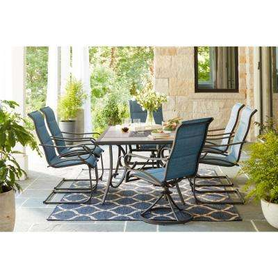 Crestridge Padded Sling Swivel Outdoor Dining Chair in Conley Denim (2-Pack)