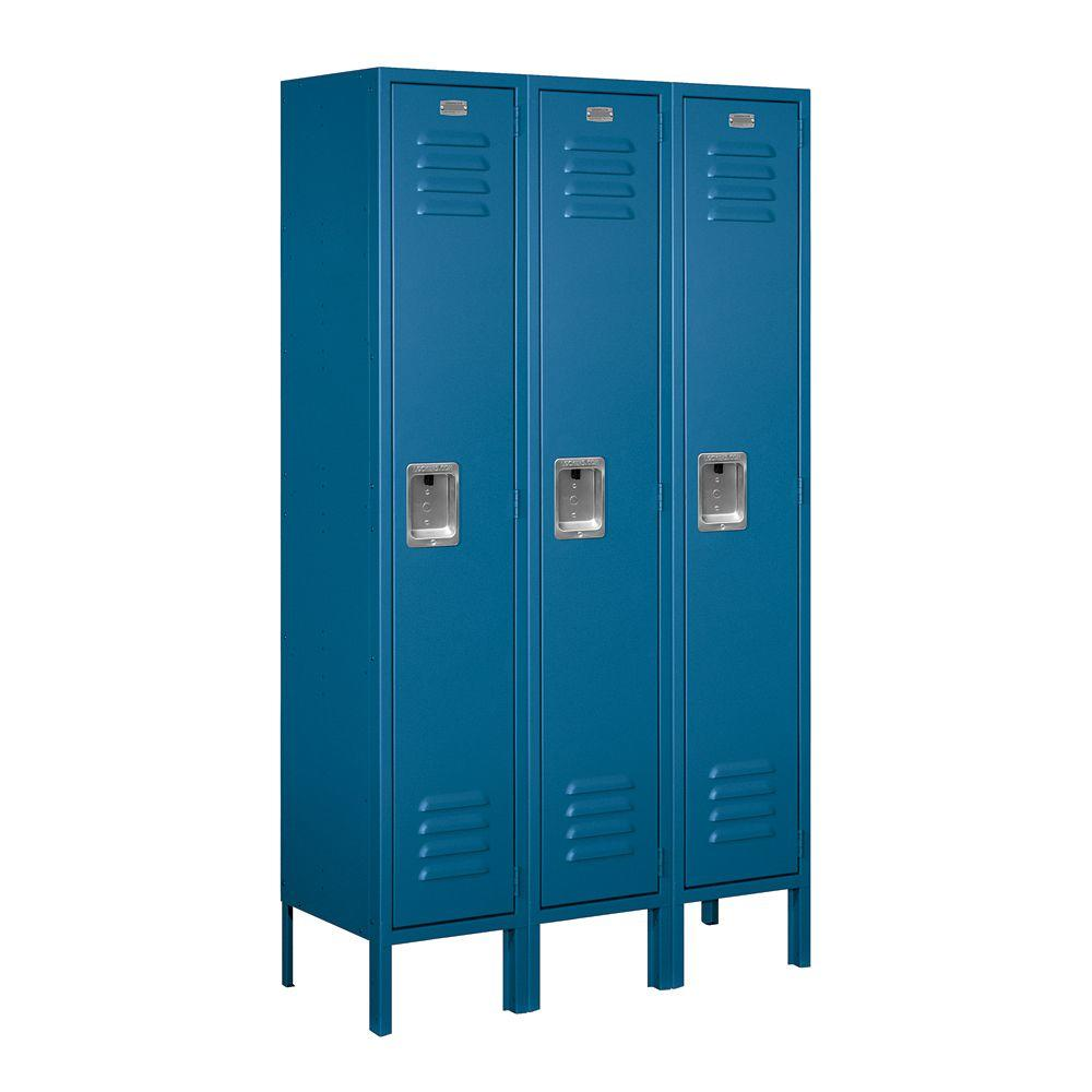 Salsbury Industries 61000 Series 36 in. W x 66 in. H x 12 in. D Single Tier Metal Locker Unassembled in Blue