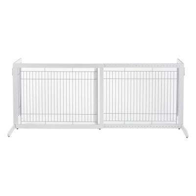 HL Wood Freestanding Pet Gate in White