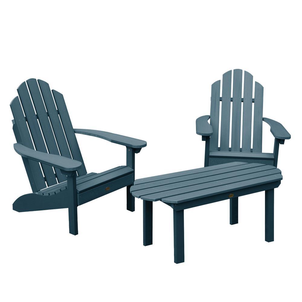 Classic Westport Nantucket Blue 3-Piece Recycled Plastic Outdoor Conversation Set