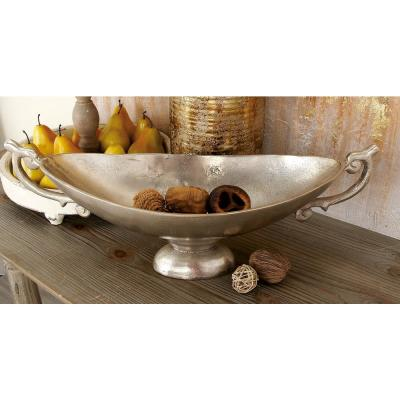 22 in. x 9 in. Blemished Silver Aluminum Oval Decorative Bowl