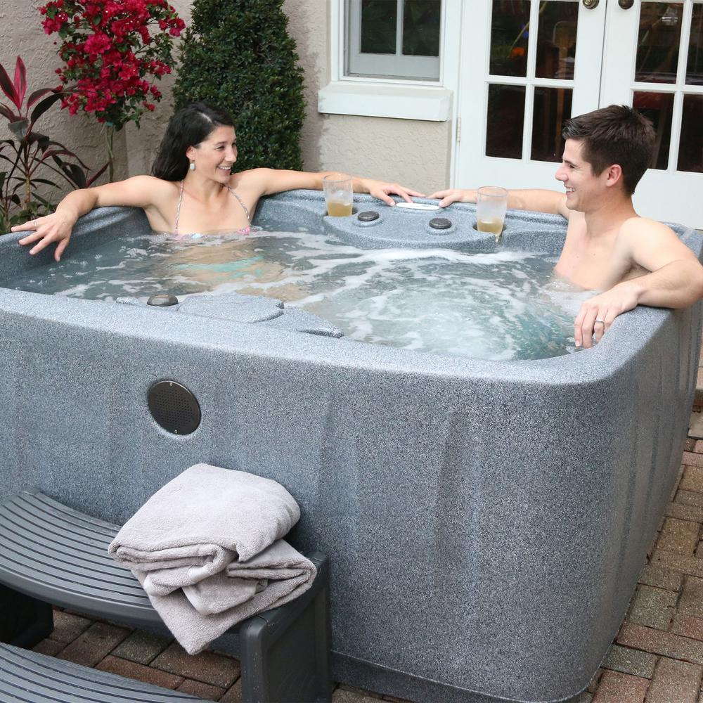 AR-150 4-Person Spa with 12 Jet in Stainless Steel, Easy Plug-N-Play