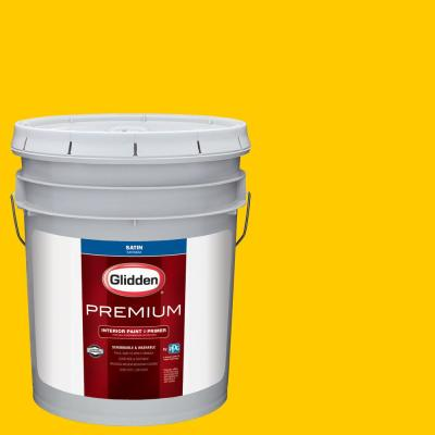 Glidden Premium 5 gal. #NHL-007D Chicago Blackhawks Yellow Satin Interior Paint with Primer