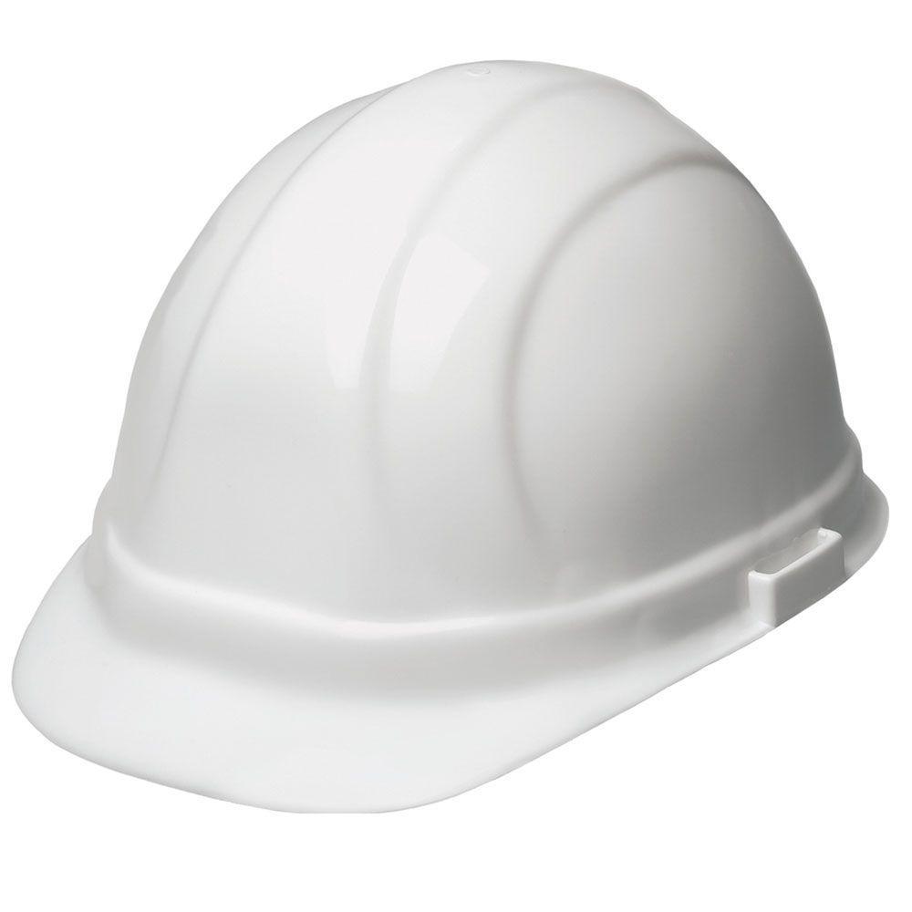 ERB Omega II 6 Point Suspension Nylon Mega Ratchet Cap Hard Hat in White