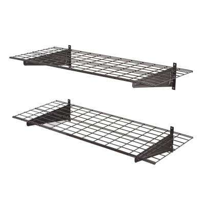 2-Shelf 48 in. W Wire Garage Wall Storage System in Silver Vein