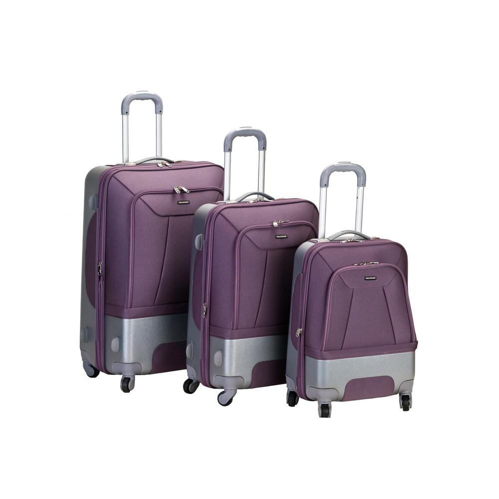 Rockland Rome Hybrid EVA/ABS 3-Piece Softside Luggage Set, Lavender