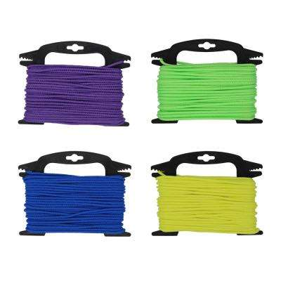 5/32 in. x 75 ft. Neon Assorted Color Braided Polypropylene Rope with Winder