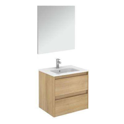 23.9 in. W x 18.1 in. D x 22.3 in. H Complete Bathroom Vanity Unit in Nordic Oak with Mirror