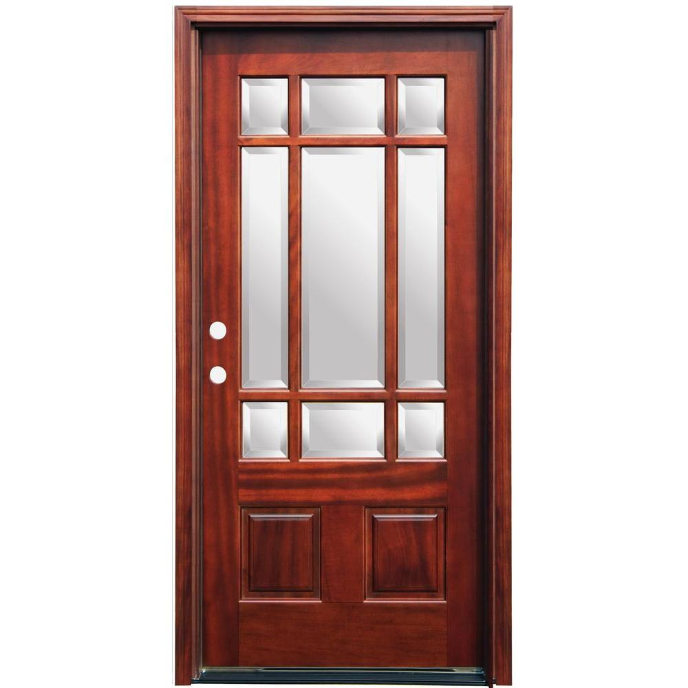 Pacific Entries 36 In X 80 In Craftsman 9 Lite Stained Mahogany Wood Prehung Front Door With 6