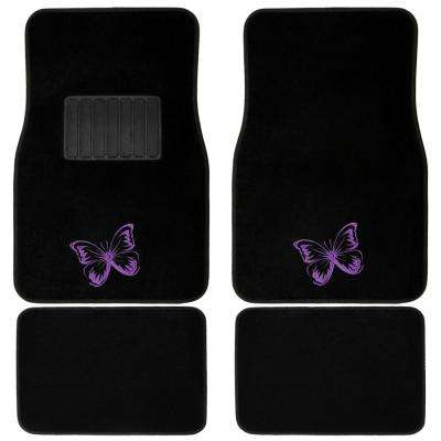 Purple Butterfly Embroidered 4-Piece Heavy-Duty 26.5 in. x 17.5 in. Rubber Floor Mats