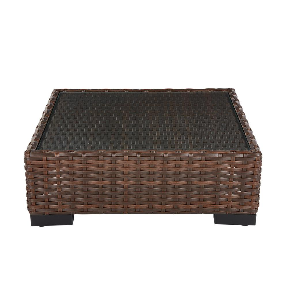 Hampton Bay Commercial Dark Brown Square Wicker Outdoor Patio Coffee Table With Gl Top