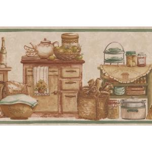Kitchen Chests Food Jars Bread Fruits Beige Prepasted Wallpaper Border