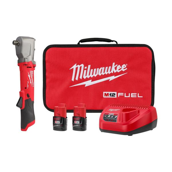 M12 FUEL 12-Volt Lithium-Ion Brushless Cordless 1/2 in. Right Angle Impact Wrench Pit Detent Kit w/ Two 2.0 Ah Batteries