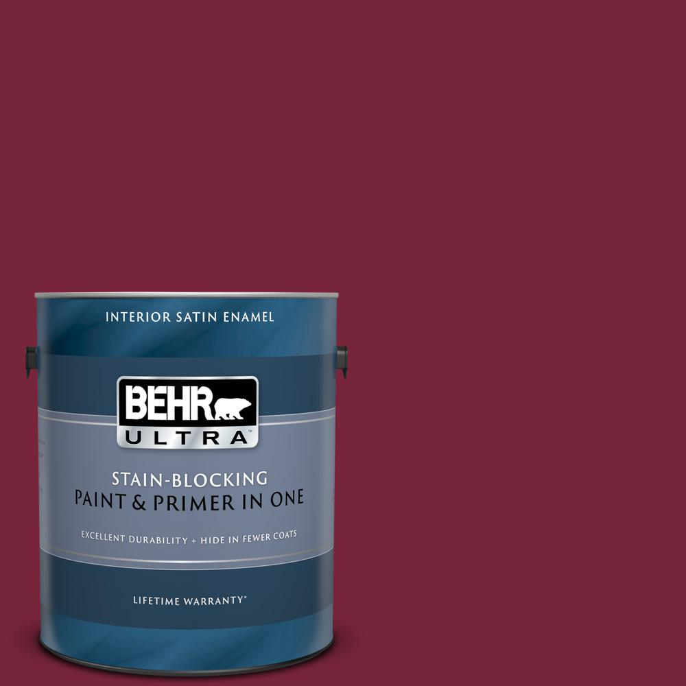 Behr Ultra 1 Gal Ul100 4 Cranberry Satin Enamel Interior Paint And Primer In One