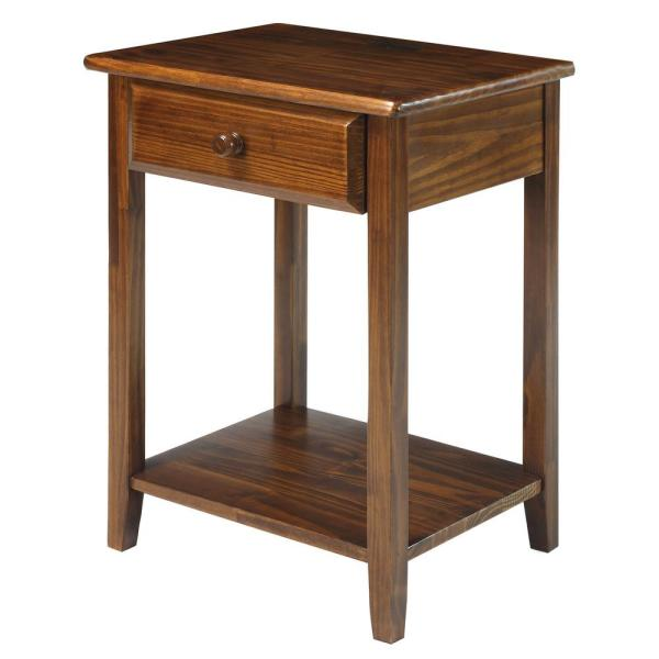 Night Owl Warm Brown Nightstand with USB Port