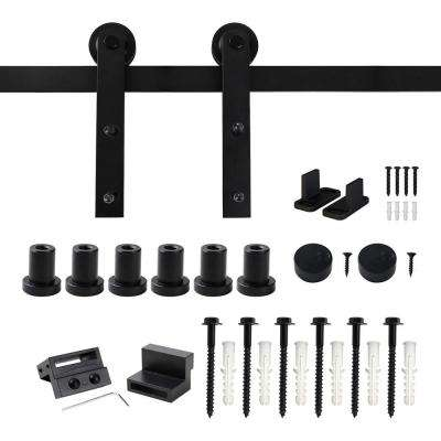 8 ft. Frosted Black Strap Sliding Barn Door Track Hardware Kit for Single Wood Door with Non-Routed Floor Guide