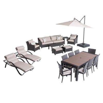 Deco Estate Wicker 20-Piece Patio Conversation Set with Slate Grey Cushions