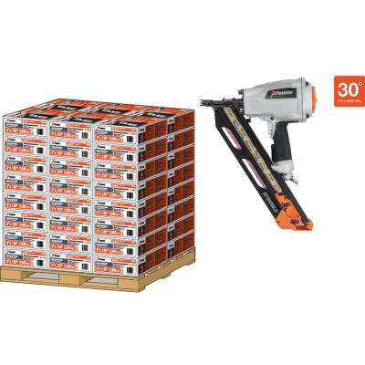 Pallet- 30D 3 in. x 131 Brite Smooth Paper-Taped Framing Nails with PMPro Nailer