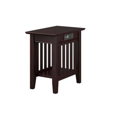 Mission 22 in. H Espresso Chair Side Table with Charging Station