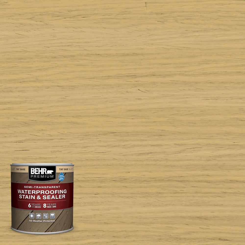 BEHR Premium 8 oz. #ST-139 Colonial Yellow Semi-Transparent Waterproofing Exterior Wood Stain and Sealer Sample