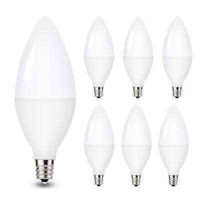 40-Watt Equivalent 5W C37 Non-Dimmable LED Candle Light Bulb E12 Base in Daylight White 5000K (6-Pack)