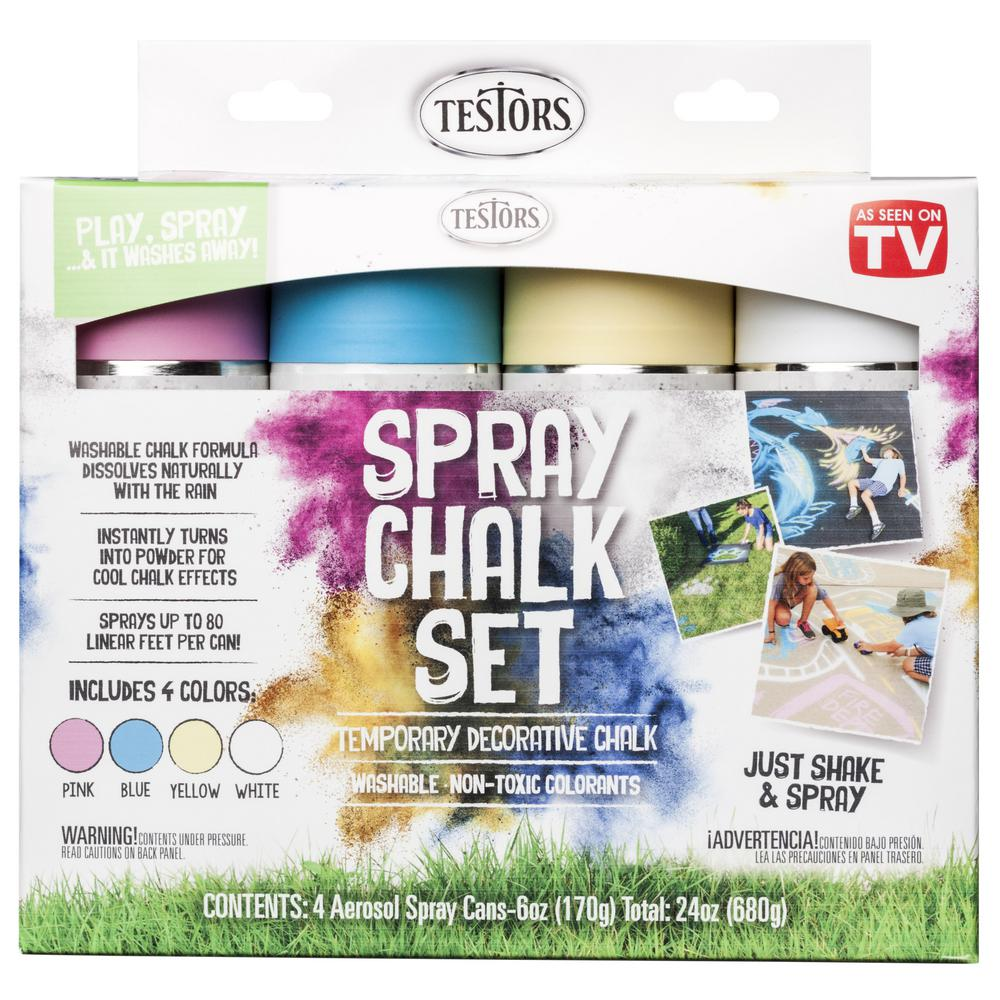 Testors Testors Spray Chalk 6 oz. Spray 4 Color Kit, Multiple