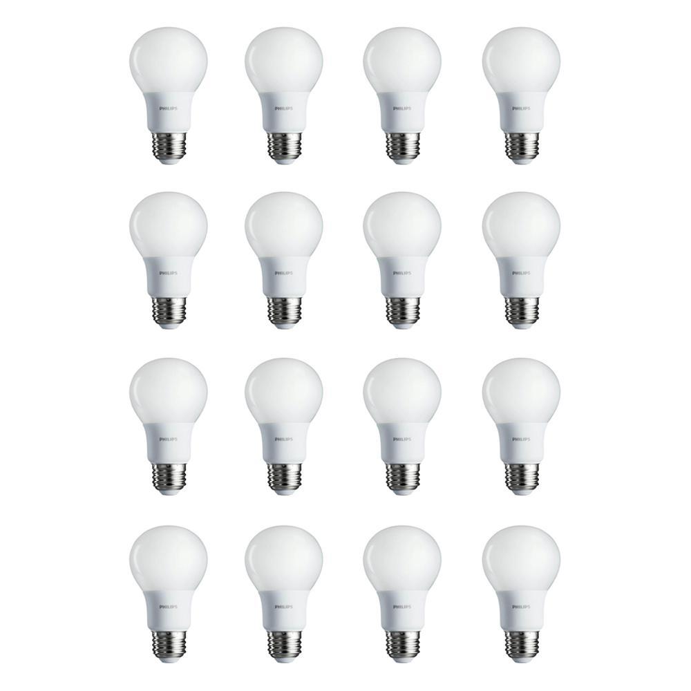 40-Watt Equivalent A19 Non-Dimmable Energy Saving LED Light Bulb Soft White (2700K) (16-Pack)