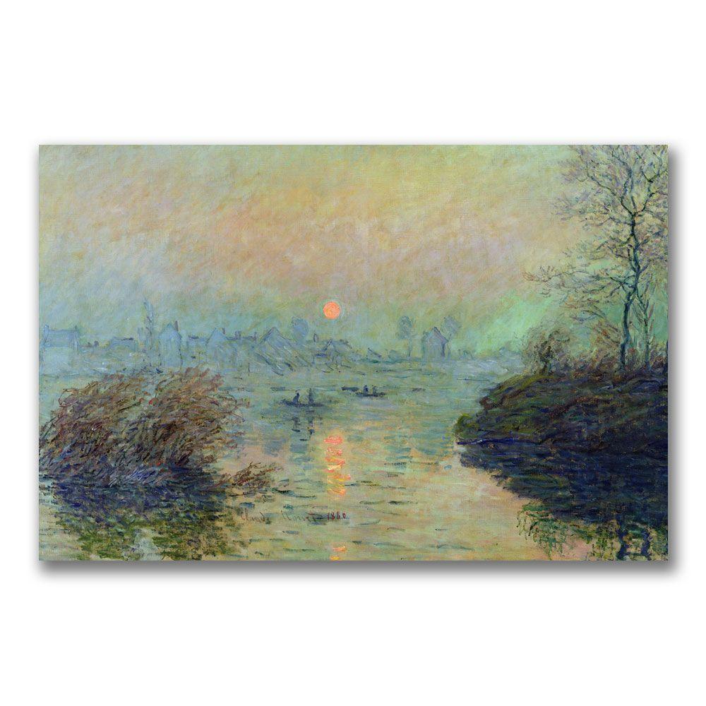 Trademark Fine Art 22 in. x 32 in. Sun Setting over the Seine Canvas Art