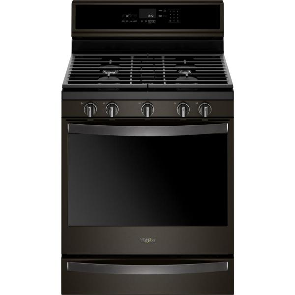 5.8 cu. ft. Smart Freestanding Gas Range in Fingerprint Resistant Black Stainless with EZ-2-LIFT Grates