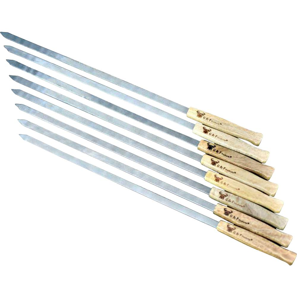 GFProducts G & F Products 17 in. Long Large Stainless Steel Brazilian-Style BBQ Skewers with Heavy Duty Travel Bag, 1/2 in. W Blade Set of 8
