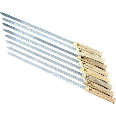 17 in. Long Large Stainless Steel Brazilian-Style BBQ Skewers with Heavy Duty Travel Bag, 1/2 in. W Blade Set of 8
