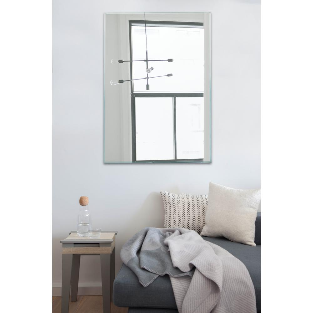 Light In The Dark 30 X 40 Rectangle Wall Mounted Frameless Mirror Beveled Edge With Strong Panel Hangs Horizontal And Vertical Litd Mp3040