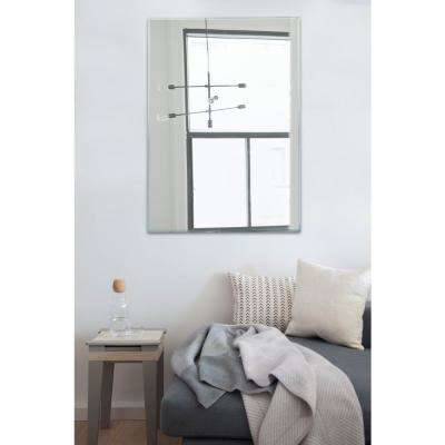 30 in. x 40 in. Rectangle Wall Mounted Frameless Mirror Beveled Edge with Strong Panel Hangs Horizontal and Vertical