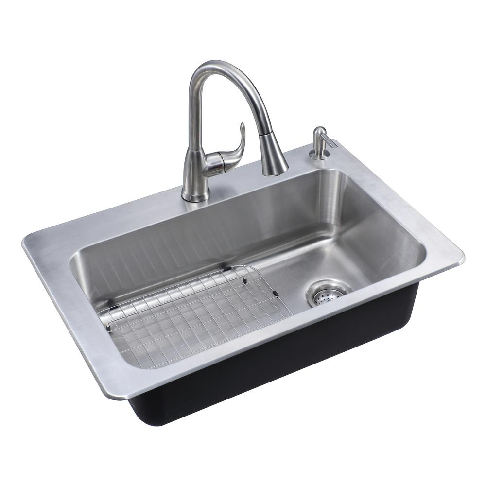 GlacierBay Glacier Bay All-in-One Dual Mount Stainless Steel 33 in. 2-Hole Single Bowl Kitchen Sink in Brushed with Faucet, Brushed Stainless Steel