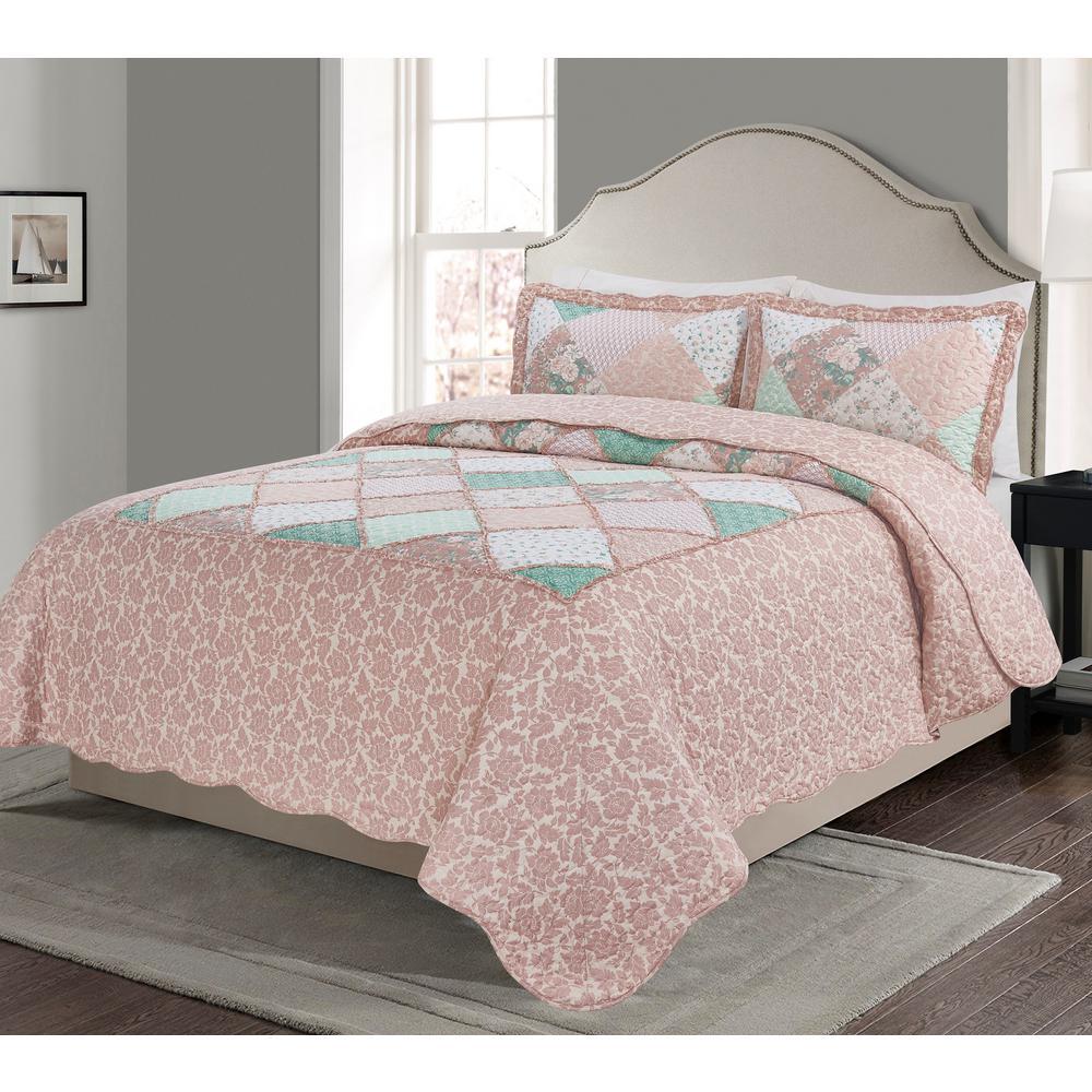 Isabelle Pink 3-piece Quilt Set