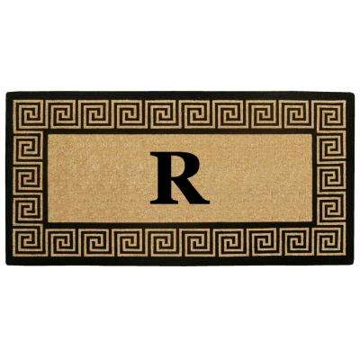 36 in. x 72 in. Greek Key Heavy Duty Coco Monogrammed R Door Mat